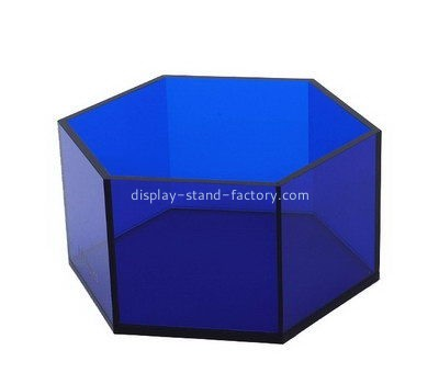Customize lucite hexagon display box NAB-966