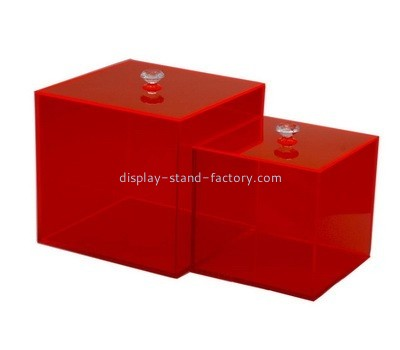 Acrylic red storage box with lid NAB-1011
