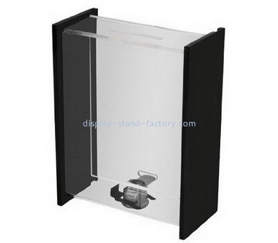 Clear + black acrylic donation box with lock NAB-1083