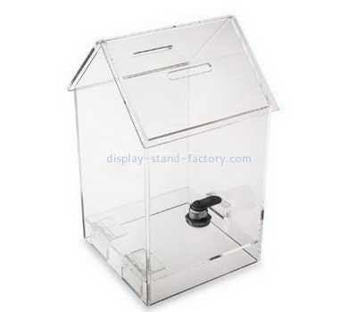 Clear acrylic house shape ballot box with lock NAB-1089