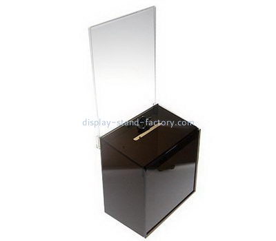 Small black acrylic donation box with sign holder NAB-1086