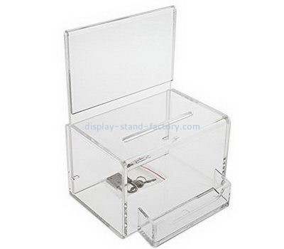 Clear acrylic election box with lock and sign holder NAB-1087