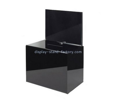 Custom black acrylic charity box NAB-1247