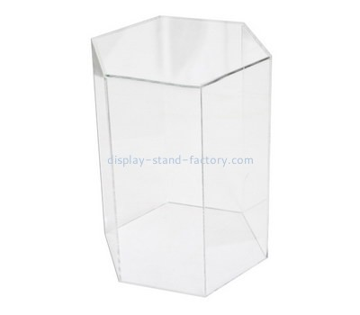 Custom hexagon clear acrylic display case NAB-1277