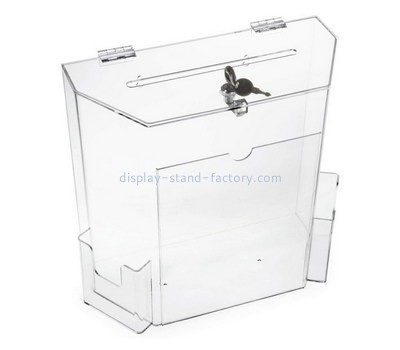 Custom clear acrylic voting box with pamphlet holder NAB-1340