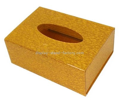 Custom hotel gold acrylic tissue box NAB-1413