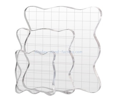 Custom acrylic stamp blocks with grids lines NBL-068