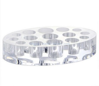 Custom round clear acrylic display block with holes NBL-092