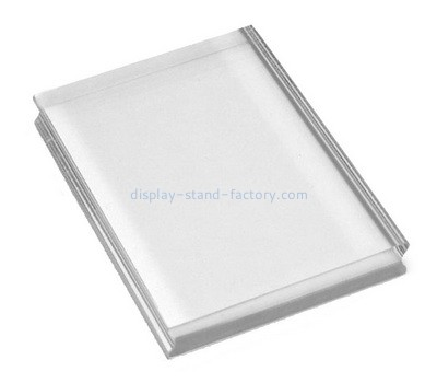 Custom clear perspex stamp block with finger groove NBL-111