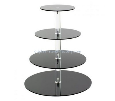 Custom 4 tiers round black acrylic cake display stand NFD-215