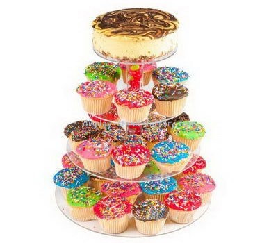 Custom 4 tiers clear acrylic cake and cupcakes display stands NFD-216