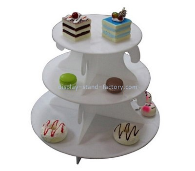 Custom 3 tiers white acrylic cake display stands NFD-222